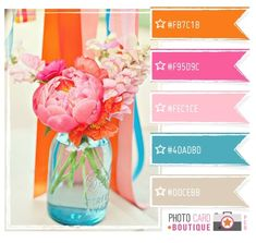 colour palette - orange, pinks, teal and taupe.