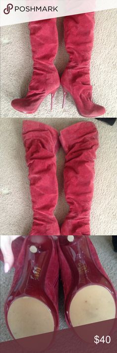 Like new thigh high red stiletto boots Suede like red thigh high boots.  Only worn once!  Needs lint rolled from being stored in the closet Shoes Over the Knee Boots