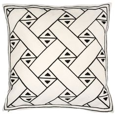 Ribbon+Putetrekk+50x50cm,+Hvit/Sort,+Lulu+Carter+Design
