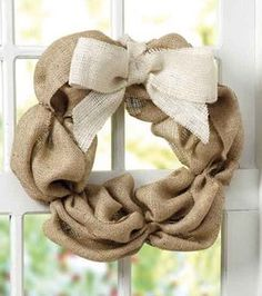 Burlap wreath. So cute!