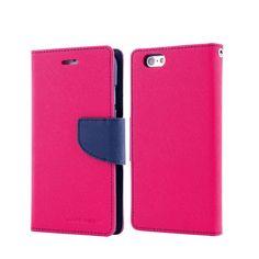 For iPhone 6/6s Genuine MERCURY Goospery Hot Pink Folio Flip Case Wallet Cover