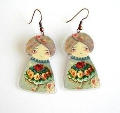 Textile Art Earrings: by Maria Cavallero from Sante Fe, Argentina Quilling Paper Craft, Paper Crafts, Diy Crafts, Paper Dolls, Art Dolls, Jewelry Crafts, Jewelry Art, Clay Magnets, Apple Cider Vinegar Detox