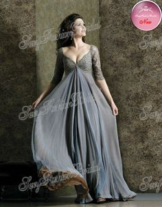 93c0aa9b818c Aliexpress.com : Buy Sexy Big V neck Three Quarter Sleeves Lace Accented Empire  High Waist Chiffon Plus Size Mother Of The Bride Dresses from Reliable  dress ...