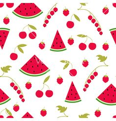 Seamless pattern watermelon cherry raspberry currants vector summer background by fuzzyfox on VectorStock®