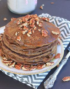 Super yummy Gingerbread Pancakes! Use lactose free or non-dairy milk, and substitute extra maple syrup in place of the molasses to make these low FODMAP #glutenfree
