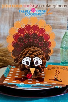 •❈• How To: Pine Cone Turkey Centerpieces | Thanksgiving Craft | on FamilyFreshCooking.com