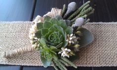 Living Succulent Boutonniere,Rustic Wedding,Burlap Boutonniere,Wedding Succulent,Woodland. , via Etsy.