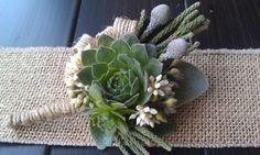 Living Succulent Boutonniere,Rustic Wedding,Burlap Boutonniere,Wedding Succulent,Woodland. , via Etsy.