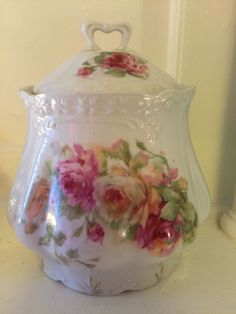 Vintage Victorian German Shabby Cottage Biscuit Jar Wth Roses Motif #Victorian