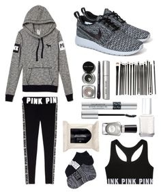 """""""What id Wear... Morning Jog"""" by stylemeh ❤ liked on Polyvore featuring NIKE, Bobbi Brown Cosmetics, Christian Dior, Essie, H&M and Sally Hansen"""
