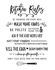 FREE Kitchen Rules Printable - so cute!! Print and stick in a frame for a cute kitchen decor piece.