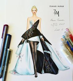 Ideas For Fashion Sketches Gowns Haute Couture Dress Design Sketches, Fashion Design Drawings, Fashion Sketches, Zuhair Murad, Fashion Drawing Dresses, Fashion Illustration Dresses, Dress Fashion, Fashion Sketchbook, Fashion Art