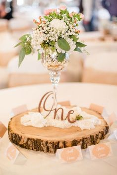 Rustic Centerpiece with Wood Detail / http://www.himisspuff.com/rustic-wedding-centerpiece-ideas/7/