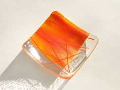 fused glass sushi plates | Orange Fused Glass Plate 6x6 Art Glass Dish Home Decor Accent Handmade ...