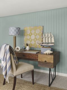 Office - Benjamin Moore - Coastal home office vignette-walls: stratton blue trim & ceiling: simply white accent color: van courtland blue Blue Home Offices, Decor, Coastal Decor, Colouring Wall, Favorite Paint Colors, Interior, Small Guest Rooms, Home Decor, Room