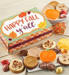 This fall, send a cookie gift to all of your friends. Cheryl's fall-themed cookies and treats are the sweetest way to send a message during the autumn season. Leaf Cookies, Fall Cookies, Christmas Cookies, Diy Christmas, Cookie Gift Boxes, Cookie Gifts, Fall Decorated Cookies, Fall Gift Baskets, Dessert Boxes