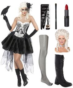 Flattering Halloween Costume for Inverted triangle : Sexy Skeleton : We love this voluminous outfit which fits at the torso and flares out below the waist. It it perfect to balance your proportions. The sweetheart neckline also lets you show off those shoulders without becoming over-powering. Pair a baroque wig, gloves, fishnet stockings and boots along. Don't forget to wear the black smokey eye and some red lipstick.