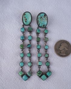 """Private Collection: Signed NAVAJO Sterling Silver and TURQUOISE 3.5"""" Long Runway Dangle EARRINGS"""
