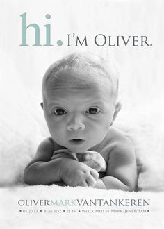 Photo Birth Announcement Hi BABY ANNOUNCEMENT Baby by babybaloo