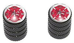"""(2 Count) Cool and Custom """"Diamond Etching Fire and Rescue Logo Top with Easy Grip Texture"""" Tire Wheel Rim Air Valve Stem Dust Cap Seal Made of Genuine Anodized Aluminum Metal {Black and Red Colors} mySimple Products http://www.amazon.com/dp/B014IAZ9B2/ref=cm_sw_r_pi_dp_geSJwb1BSK16K"""