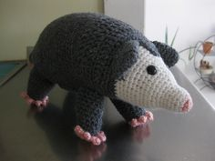 Possum I made! Opossum Amigurumi Crochet Pattern by Susan Burkhart. Love the pattern, will make others by her in the future!