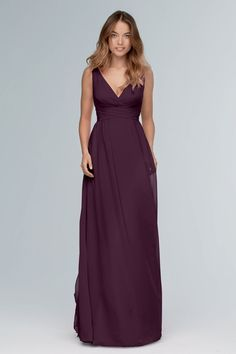 Wtoo Style Jenson 101 by Watters Bridesmaid Dress - Inna Chiffon - Modern and romantic with a whole new twist. Crafted from Inna Chiffon, this gown features a plunging v-neckline Classic Bridesmaids Dresses, Sequin Bridesmaid Dresses, Designer Bridesmaid Dresses, Bridesmaid Dress Styles, Bridal Dresses, Wedding Bridesmaids, Plum Bridesmaid, Black Bridesmaids, Bridesmaid Ideas