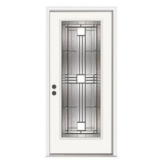 JELD-WEN Cordova Full-Lite Primed White Steel Entry Door with Nickel Caming - THDJW166700601 at The Home Depot