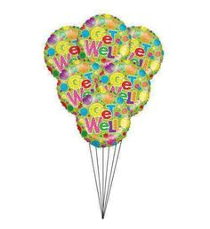 "Half a dozen of health Half dozen of brightly colored helium-filled mylar ""Get Well Soon"" balloons bouquet to wish someone for their speedy recovery."