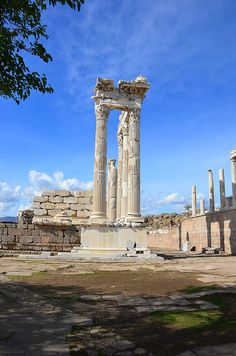 Ruins at Pergamon Ancient City, Bergama Town, Izmir Province, Aegean Region, Turkiye Ancient City, Ancient Ruins, Ancient Greek, Roman Architecture, Ancient Architecture, Wonderful Places, Beautiful Places, Istanbul, Turkey Travel