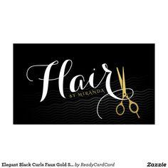 Glam hairstylist script text goldblack business card glam hair elegant black curls faux gold scissors hair salon business card reheart Image collections