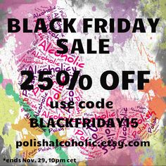 https://www.etsy.com/shop/polishalcoholic #blackfriday #blackfridaysale #blackfridaydeals #sale #indiepolish #buyindie