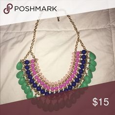 Forever 21 statement necklace! Gold, royal blue, magenta, light pink, and Turquoise! Great condition Forever 21 Jewelry Necklaces