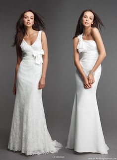 Classy, elegant creations with bows – v-neck with lace overlay and one with draping around the bodice
