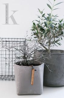 Dark concrete, cardboard like cement ans wire grid, all gray pots and planters Concrete Cement, Concrete Projects, Concrete Planters, Concrete Design, Plantas Indoor, Beton Diy, Papercrete, Green Plants, Houseplants