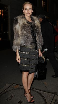 Diane Kruger in Gucci Spring 2011 dress and sandals at the Gucci Rue Reopening party, January 2011