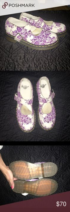 "Dr. Martens Velvet Floral Mary Janes 🦄 Great used condition- perfect soles, no creases on top of shoes or even on straps. Have not been broken in yet! Very minor and tiny scratch on front/ big toe part of the left shoe. See picture 4. 😘 Velvet Floral pattern on white leather. Famous stitched ""Air Soles."" Dr. Martens Shoes Flats & Loafers"