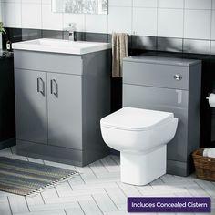 600 mm Light Grey Vanity Cabinet with Basin Sink & WC Toilet Pan Unit Suite · $289.99 Toilet Vanity Unit, Freestanding Vanity Unit, Bathroom Vanity Units, Vanity Cabinet, Gray Vanity, Basin Sink, Cupboard, The Unit, Grey