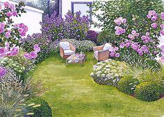 Seating in the sea of flowers - garten - Tipos de Jardim Garden Cottage, Diy Garden Projects, Small Garden Design, Landscape Designs, Landscape Plans, Plantation, Raised Garden Beds, Small Gardens, Dream Garden