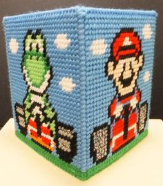 SUPER MARIO KART - Boutique Size Tissue Box Cover - Hot Item - Needlepoint on Plastic Canvas - Handmade - Hand Stitched
