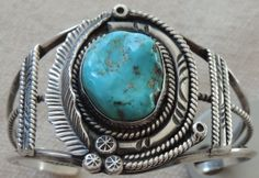 Old Pawn Turquoise Sterling Silver Bracelet Navajo Indian Jewelry