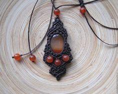 Купить Кулон с оранжевым агатом и бусинами сердолика - коричневый, оранжевый, оранжевый агат, Сердолик