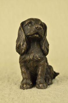 English Cocker Water Spaniel Boykin Bronze Dog Statue Breeder Kennel Gift Decor