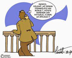 """ITALIAN COMICS: >>>In ogni caso, per evitare che qualcuno, in futuro, in analoghe circostanze possa sollevare il problema ed invitare le istituzioni a reagire, sono nate diverse proposte di legge. Ad esempio ci è giunta voce, in attesa di conferma, che alcune menti eccelse della politica, come il senatore Carlo Giovanardi, abbiano proposto di trasformare l'applauso estemporaneo di un gruppo di agenti in un'azione organizzata di """"claque"""" al servizio del cittadino...leggi l'articolo"""