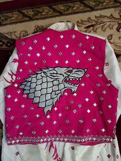 9adce57162499a stark direwolf on Bhangra vest by karan virdi