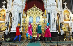 Pussy Riot staged a musical protest in the Cathedral of Christ the Saviour - Russia September 2012