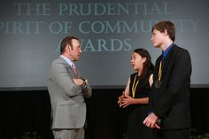 Academy Award-winning actor Kevin Spacey congratulates Brittany Amano, 15, of Honolulu (center) and Michael-Logan Jordan, 14, of Kailua (right) on being named Hawaii's top two youth volunteers for 2013 by The Prudential Spirit of Community Awards. Brittany and Michael-Logan were honored at a ceremony on Sunday, May 5 at the Smithsonian's National Museum of Natural History, where they each received a $1,000 award. (Photo: Business Wire)