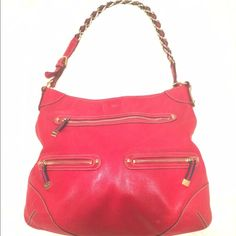 Vintage Leather Gucci bag Soft red leather authentic Gucci bag used has some stains but in good condition. Gucci Bags Shoulder Bags
