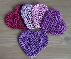 Crochet: Set of 5 shades of purple heart coasters by NadoandLola on Etsy Shades Of Purple, Crochet Doilies, Coasters, Crochet Earrings, Knitting, Trending Outfits, Heart, Unique Jewelry, Handmade Gifts