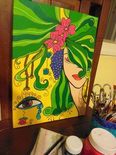 flores en la cabeza, pintura en acrilico