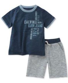 Calvin Klein 2-Pc. T-Shirt & Shorts Set, Toddler & Little Boys (2T-7) - Blue/Grey 5